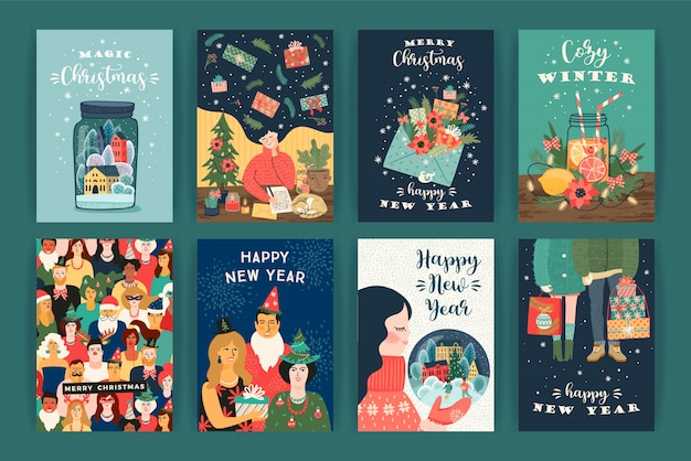 Set of christmas and happy new year illustrations. vector design templates. Premium Vector