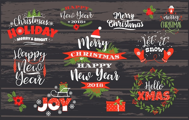 Set of christmas and happy new year lettering designs. Premium Vector