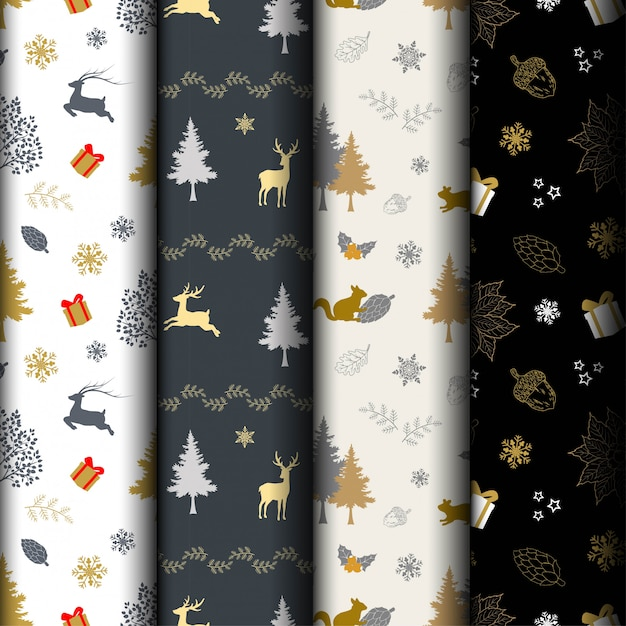 Set of christmas holiday seamless pattern Premium Vector