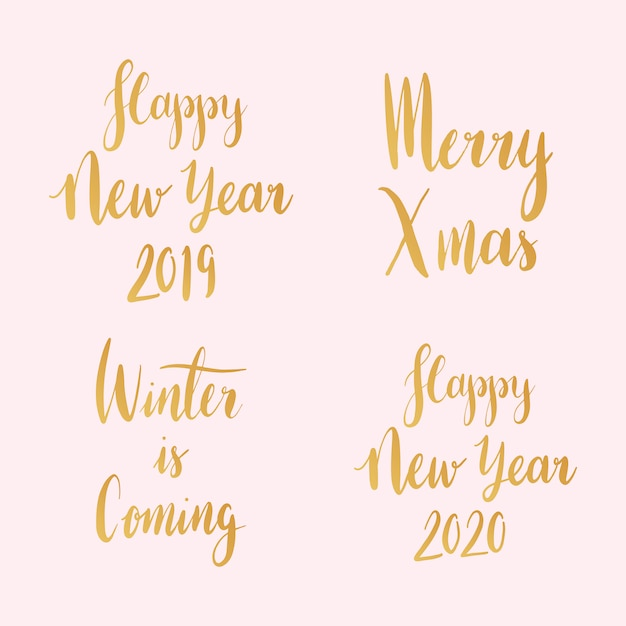 Set of christmas holiday typography vectors Free Vector