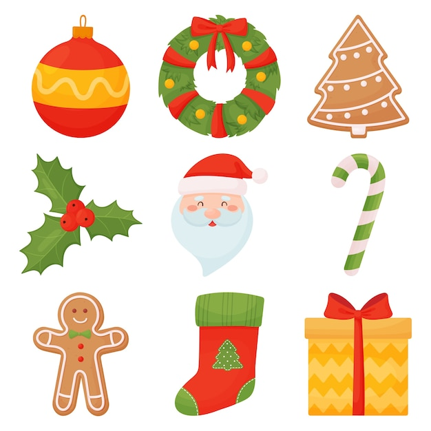 premium vector set of christmas icons in cartoon style freepik