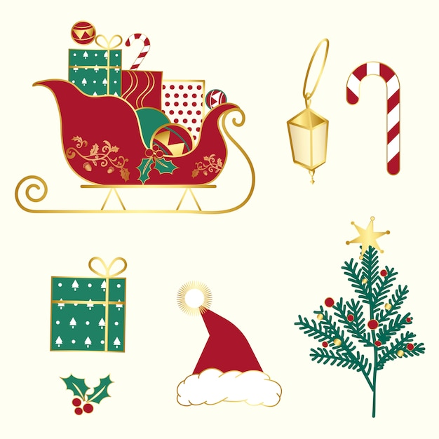 Set of christmas illustrations vector Free Vector