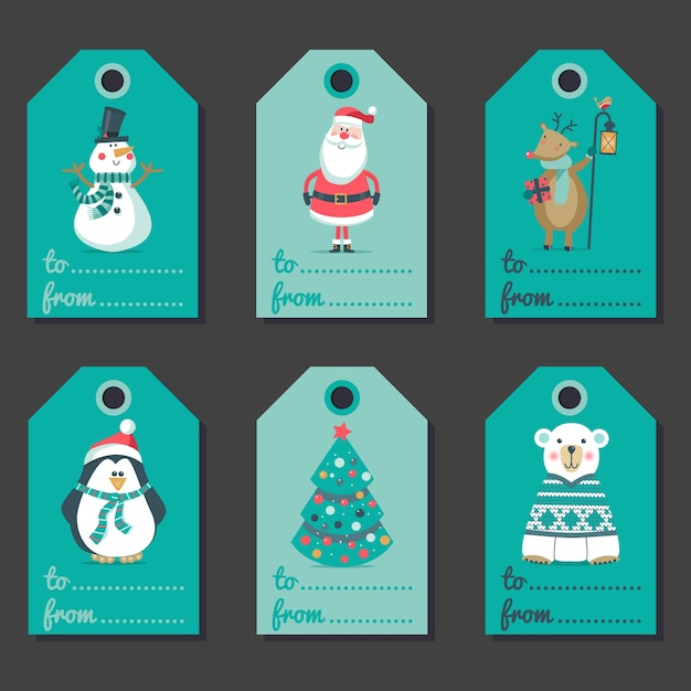 Set of christmas invitations. Premium Vector