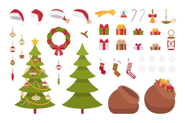 Set of christmas items Premium Vector