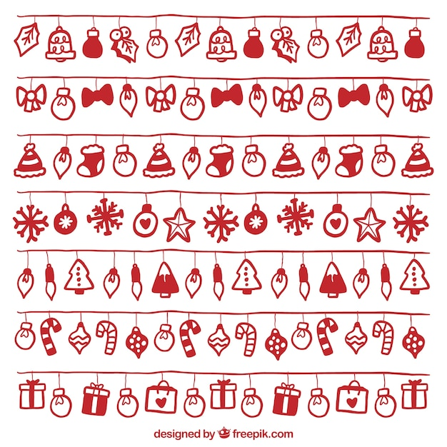 Set of christmas lights with red hand-drawn objects Free Vector