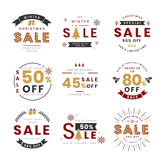 Set of christmas promotion vectors Free Vector