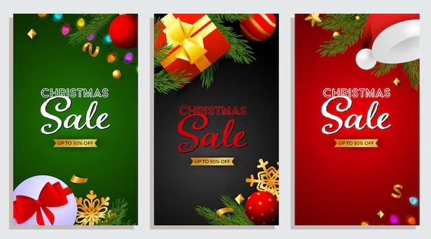 Set of christmas sale banner with presents Free Vector