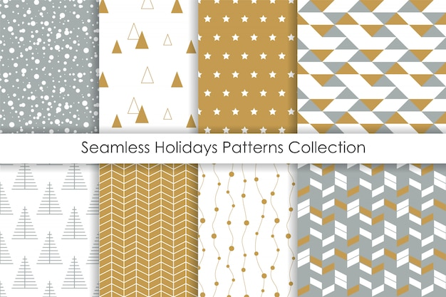 Set of christmas seamless patterns. Premium Vector