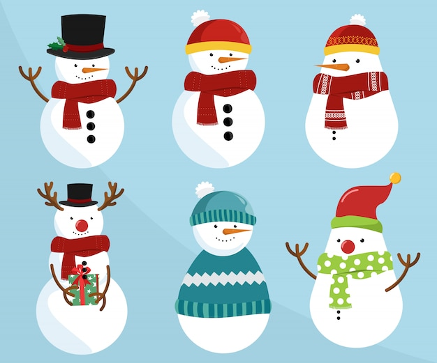 Set of christmas snowmen Premium Vector