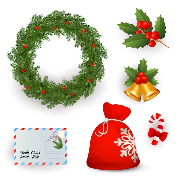 Set of christmas symbols Free Vector