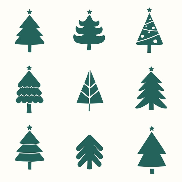Set of christmas tree design elements vector Free Vector