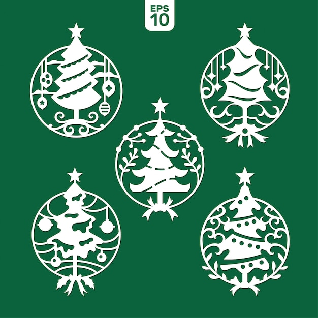 Set of christmas tree template for laser and plotter cutting. Premium Vector
