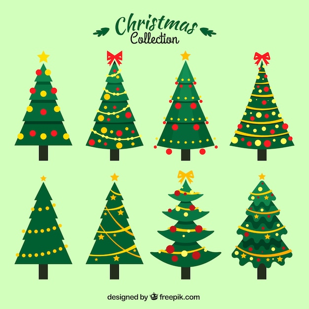 Christmas Tree Vector.Set Of Christmas Trees With Ornaments Vector Free Download