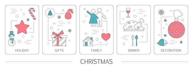 Set of christmas vertical banners. idea of holiday, dinner, family and decoration. new year card.    illustration Premium Vector