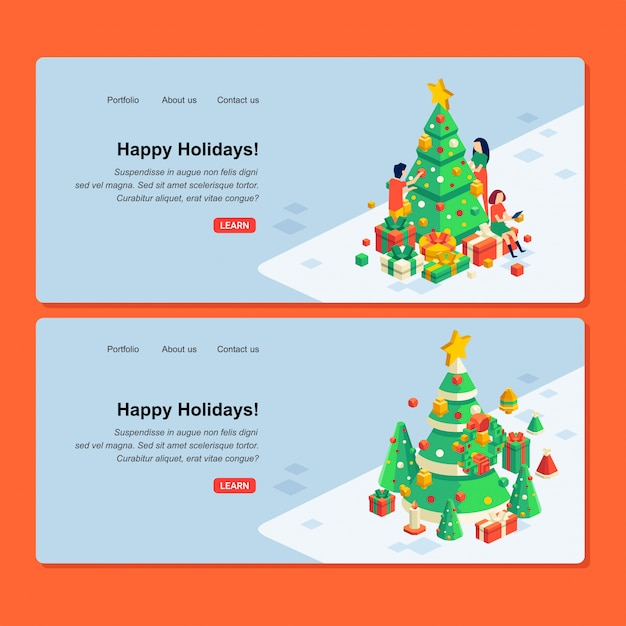 Set of christmas web design with illustration of people character, christmas tree and gift boxes Premium Vector