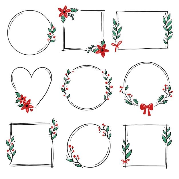 Hoa văn khung hoa, vòng hoa giáng sinh để trang trí văn bản