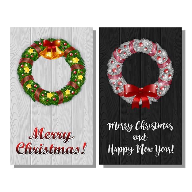 Set of christmas wreath postcards Premium Vector