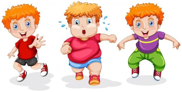 Set of chubby boy running Free Vector