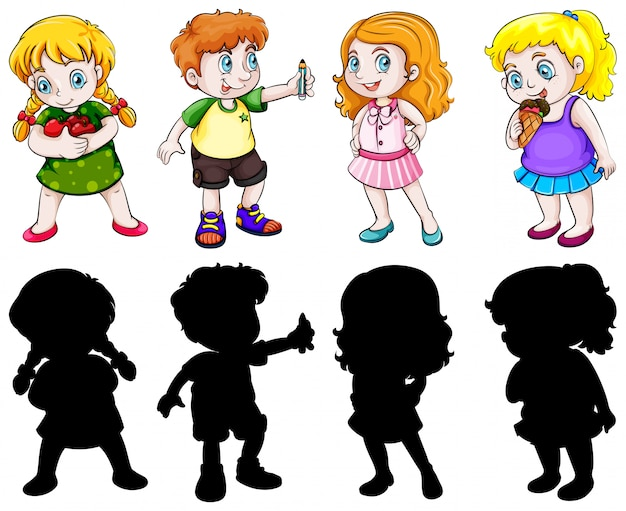 Set of chubby character Free Vector
