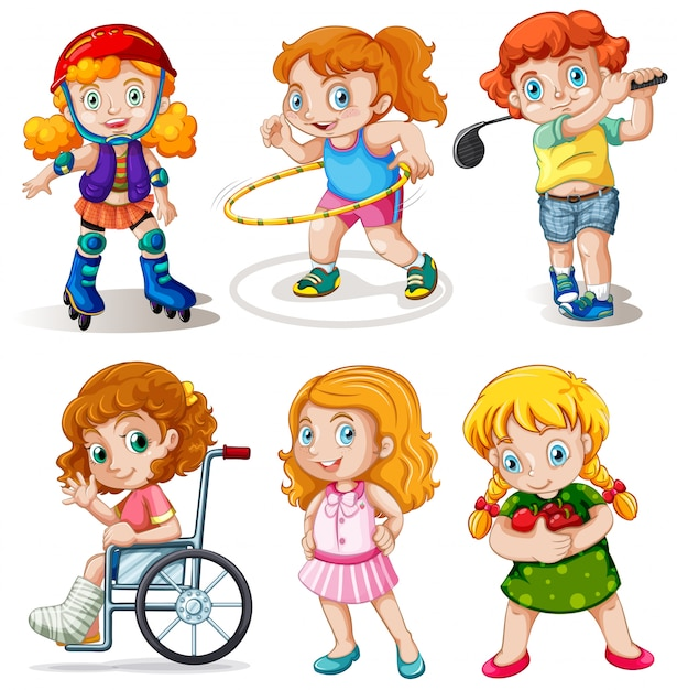 Set of chubby kids character Free Vector
