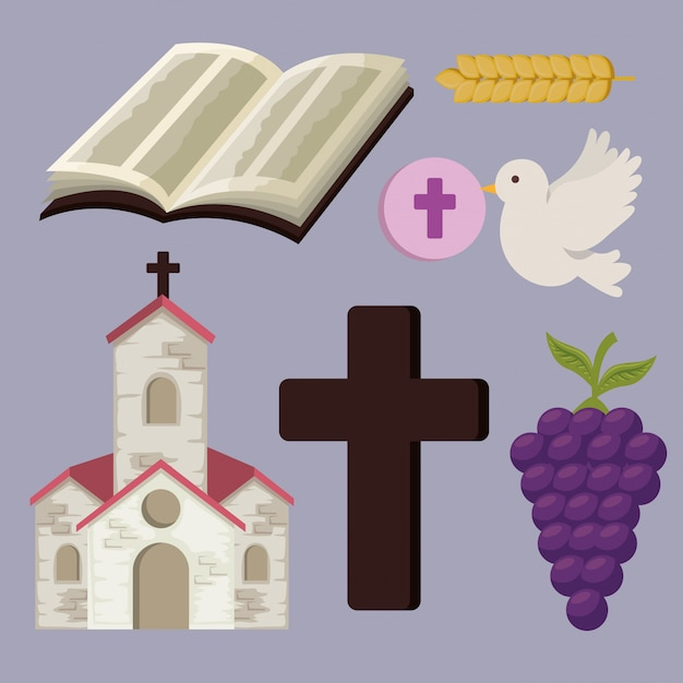 Set church with bibble and cross to first communion Free Vector