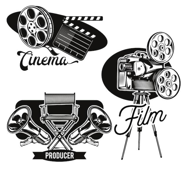 Set di emblemi del cinema Vettore gratuito