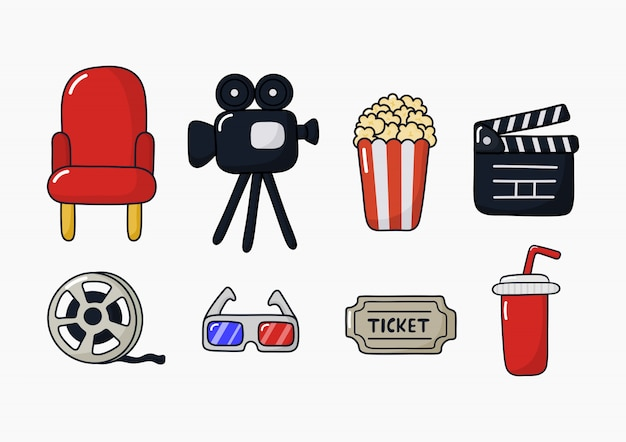 Set of cinema icons signs and symbols collection for websites isolated Premium Vector