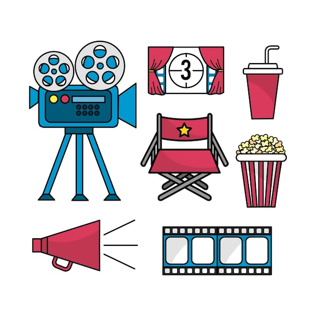 Set cinematography scene to entertainment Premium Vector
