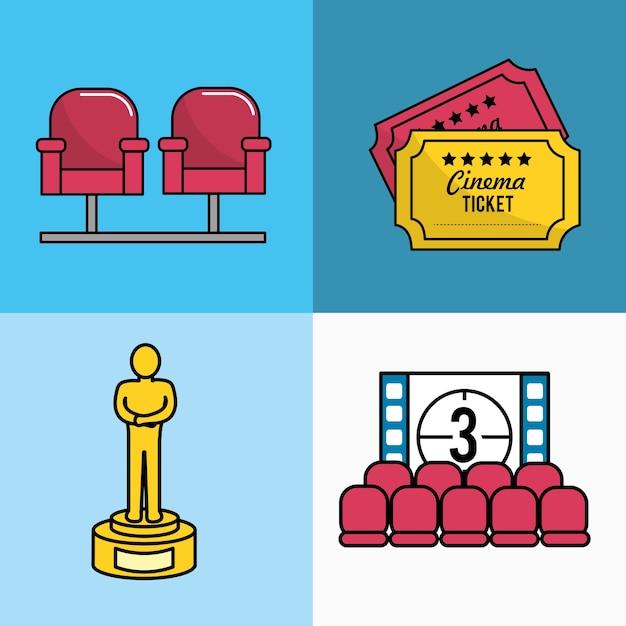 Set cinematography tools production studio Premium Vector
