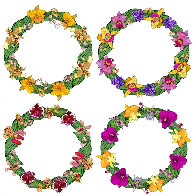 Set of circle frames made of orchids and floral elements. Premium Vector