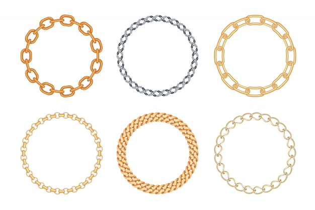 Set of circle golden and silver chain frames. Premium Vector