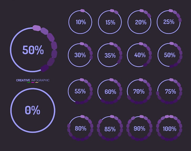 Set of circle percentage diagrams from 0 to 100. Premium Vector