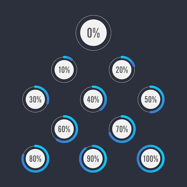 Set of circle percentage diagrams for infographics design Premium Vector