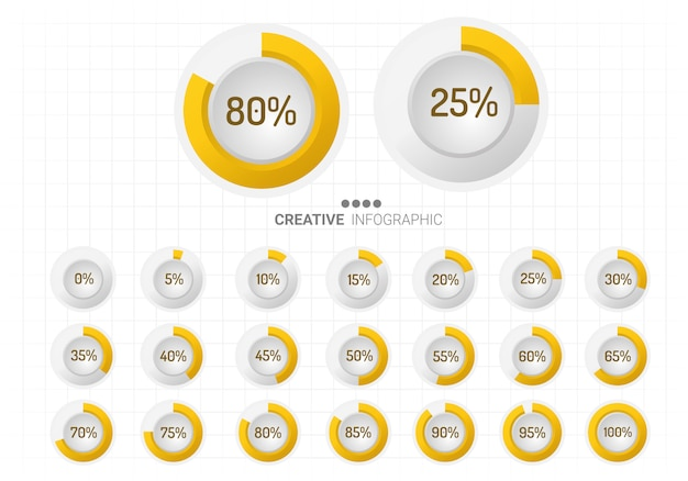 Set of circle percentage diagrams for infographics. Premium Vector
