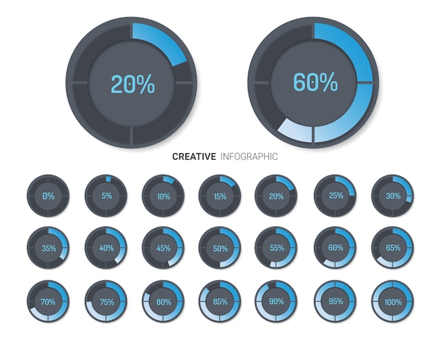 Set of circle percentage diagrams for infographics. Premium Vector