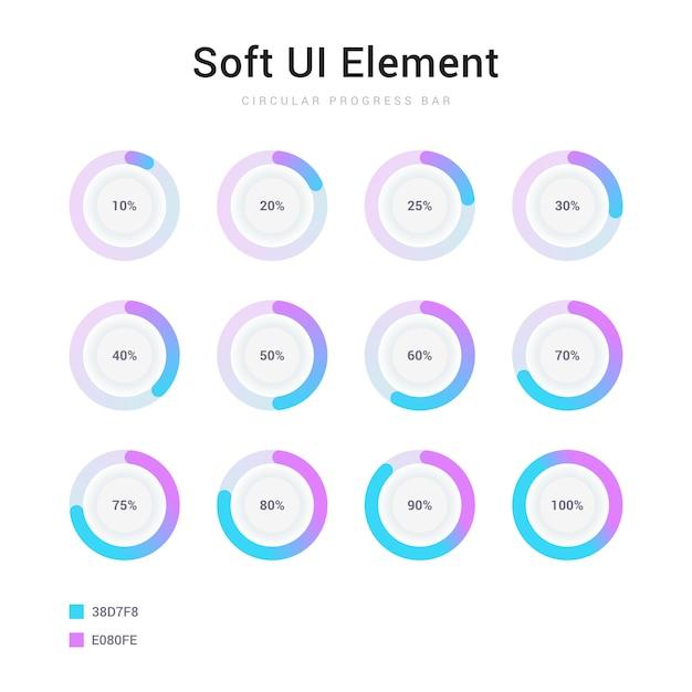 Set of circle percentage progress bar soft ui element Premium Vector