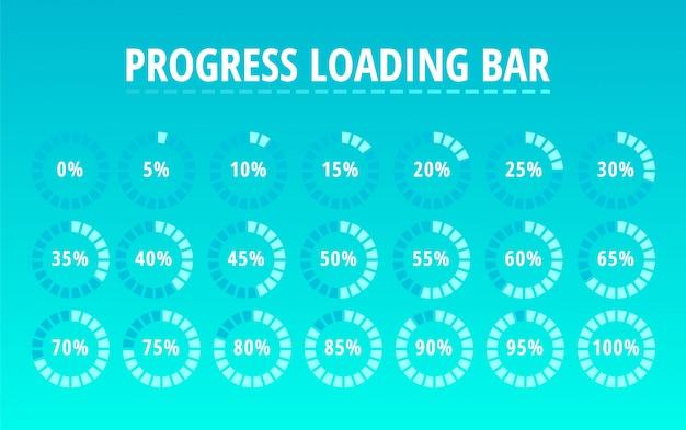 Set of circular progress loading bar on blue Premium Vector