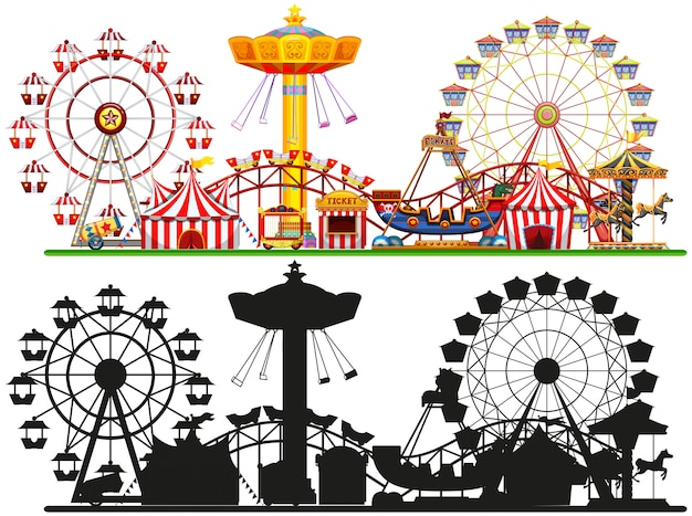 Set of circus background Free Vector