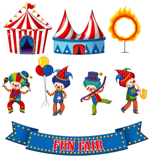 Set of circus clowns and tents Free Vector