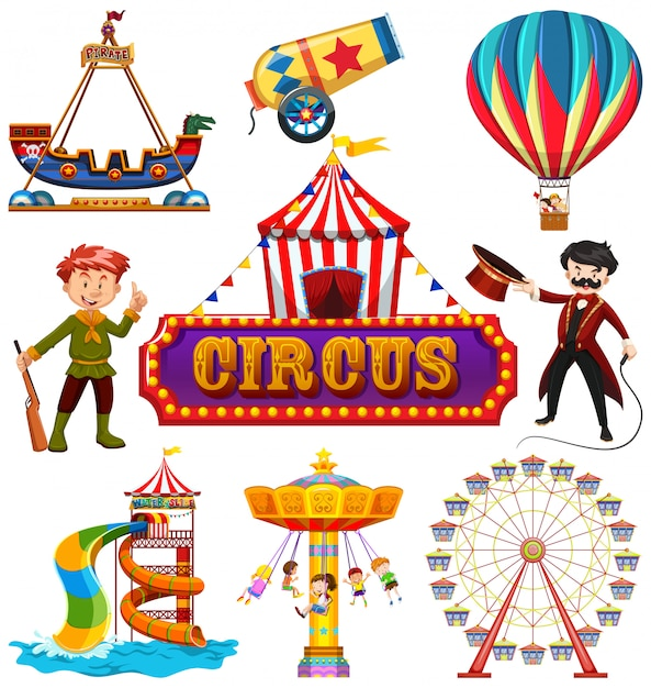 Set of circus element Free Vector