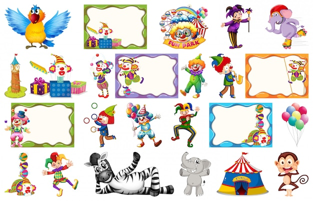 Set of circus frame Free Vector