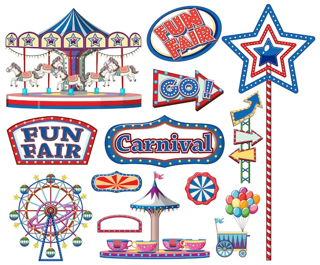 Set of circus items Free Vector