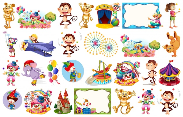 Set of circus temed elements and objects Free Vector
