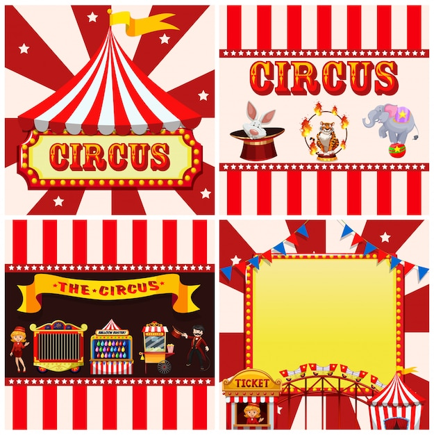 Set of circus template Free Vector