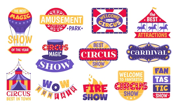 Set of circus vintage labels, emblems, badges and logos  on white background  illustrations. carnival, magic show, attraction, amusement park and circus festival retro  banners. Premium Vector