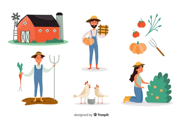 Set of citizens working in agriculture Free Vector