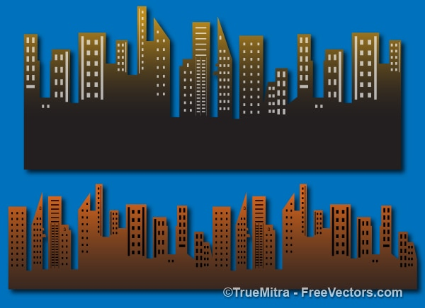 Set of city buildings background Free Vector