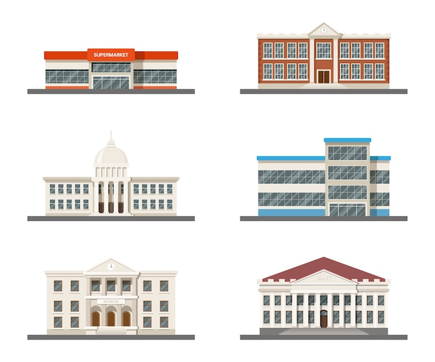 Set of city buildings: supermarket, hospital, university, city hall, museum and shopping mall Premium Vector