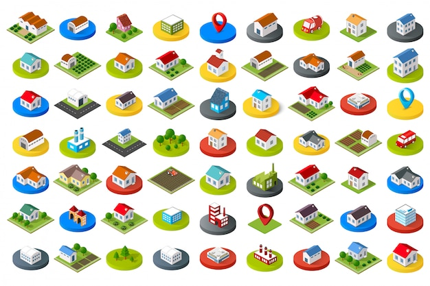 Set of city icons Premium Vector