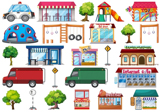 Set of city objects Free Vector